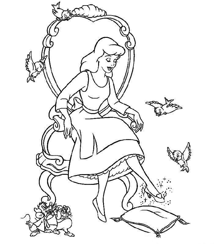 Coloriage De Cendrillon Sur Hugo Lescargot.Dessins A Colorier Coloriage Animaux Cendrillon Princesses
